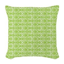 Lime White Damask Pattern Woven Throw Pillow