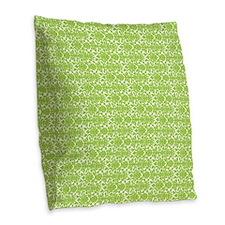 Lime White Damask Pattern Burlap Throw Pillow