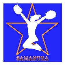 Cheerleader in orange and blue Square Car Magnet 3