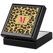 Leopard Print Pink Monogram Keepsake Box