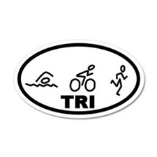 TRI Swim Bike Run 20x12 Oval Wall Peel