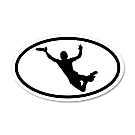 Flying Frisbee Catch 20x12 Oval Wall Peel