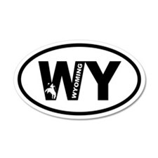 Wyoming Bronco 35x21 Oval Wall Peel