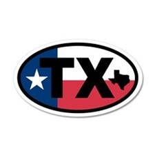 Texas Flag and Map 35x21 Oval Wall Peel