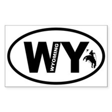 Wyoming Bucking Bronc Oval Decal