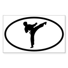 Martial Arts Kick Oval Stickers
