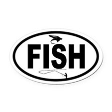 Fisherman and Fly Oval Car Magnet