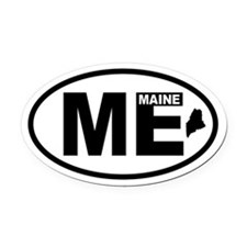 Maine Map Oval Car Magnet