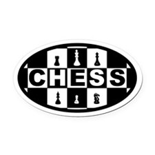 Chess Board and Pieces Oval Car Magnet