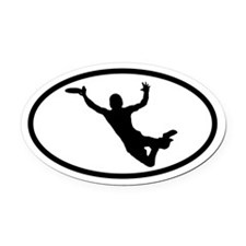 Flying Frisbee Catch Oval Car Magnet