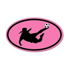 WOMEN'S SOCCER Player Oval Car Magnet