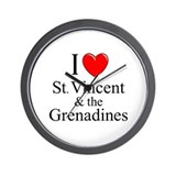 """I Love St. Vincent & The Grenadines"" Wall Clock"