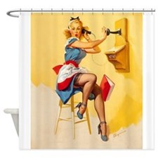 Pin Up Girl, Antique Phone, Vintage Poster Shower
