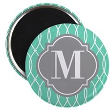 Monogrammed Modern Mint White Lattice Pattern Magn