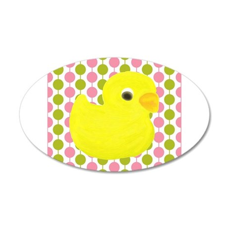 Rubber Duck on Pink and Green Wall Decal
