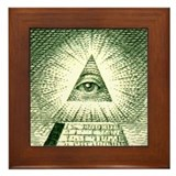 Pyramid Eye U.S. dollar logo Framed Tile