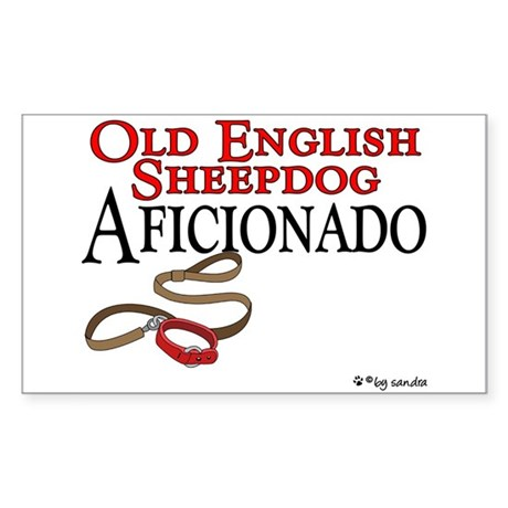 Old English Sheepdog Aficionado Sticker (Rectangul