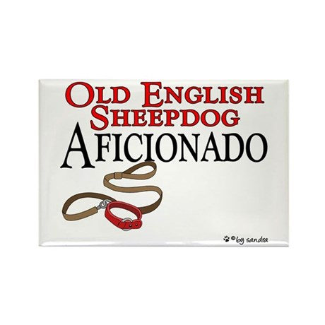 Old English Sheepdog Aficionado Rectangle Magnet (