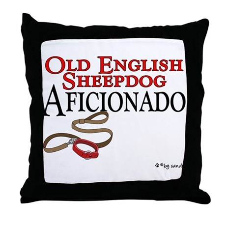 Old English Sheepdog Aficionado Throw Pillow