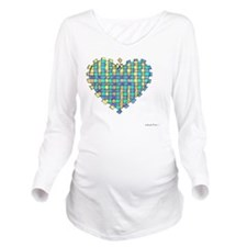Woven Heart 10x10_al Long Sleeve Maternity T-Shirt