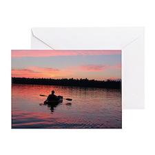 Kayaking at Sunset Greeting Card