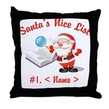 Personalized Santa's Nice List Throw Pillow