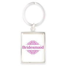 Bridesmaid in hot pink Keychains