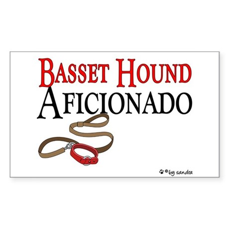 Basset Hound Aficionado Rectangle Sticker