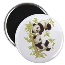 Pandas Playing In A Tree Magnet