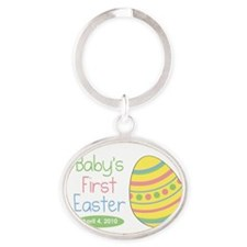 3-firsteastermagnet Oval Keychain