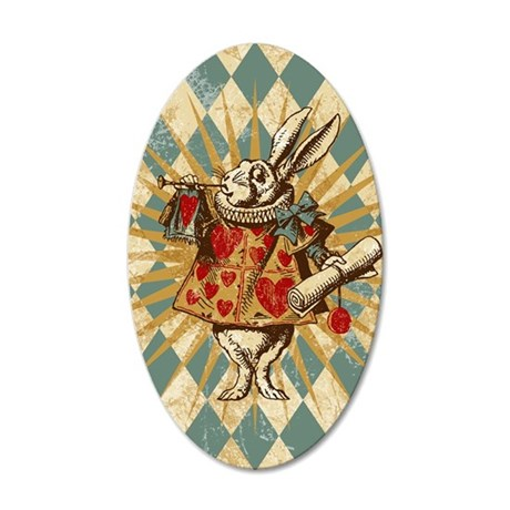 white-rabbit-vintage_13-5x18 35x21 Oval Wall Decal