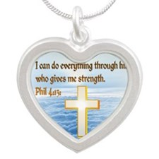 Faith Cross, Bible Verse Silver Heart Necklace