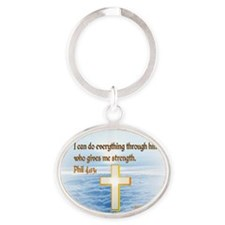 Faith Cross, Bible Verse Oval Keychain