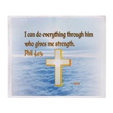 Faith Cross, Bible Verse Throw Blanket