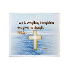 Faith Cross, Bible Verse Throw Blanket