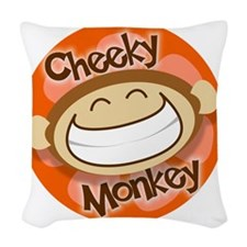 Cheeky Monkey Square Woven Throw Pillow