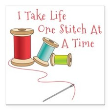 "One Stitch at a Time Square Car Magnet 3"" x 3"""