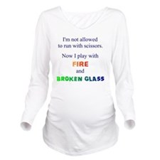 Fire and Broken glas Long Sleeve Maternity T-Shirt