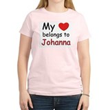 My heart belongs to johanna Women's Pink T-Shirt