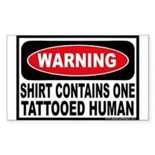 Warning Tattooed Human Tattoo Sticker (Rectangular