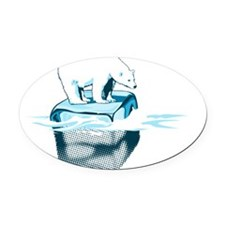 Sea Ice 2 - Light Blue Oval Car Magnet