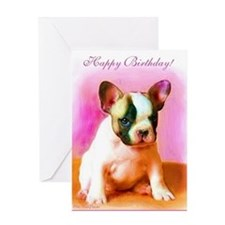 happy_birthday_french_bulldog_art_gr Greeting Card