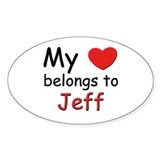 My heart belongs to jeff Oval Decal