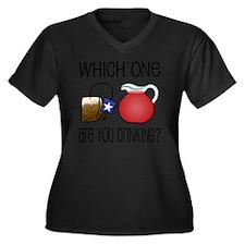 03-15_tea-ko Women's Plus Size Dark V-Neck T-Shirt