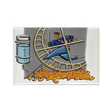 Business man on hamster wheel Lar Rectangle Magnet