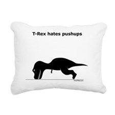 Trex hates pushups Black Rectangular Canvas Pillow