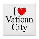 &quot;I Love Vatican City&quot; Tile Coaster