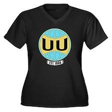 UUW_logo Women's Plus Size Dark V-Neck T-Shirt