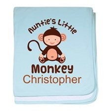 Personalized Auntie Monkey for Nephew baby blanket