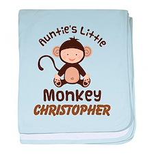 Personalized Auntie Monkey for Nephew baby blanket